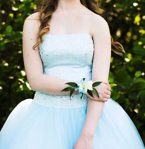 Baby Blue Prom Dress with beaded bodice