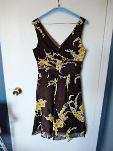 Brown dress with yellow flowers