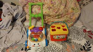 FISHER PRICE SHAPE SORTER MOVE ALONG MOWER &MORE