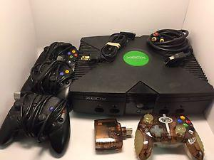 Original Xbox with 4 controllers and 9 games