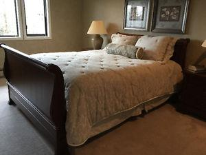 Queen size sleigh bed with new mattress