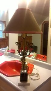 Vintage Lamp with Cherub and Marble Base