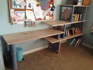 custom made desk with shelving and matching dresser