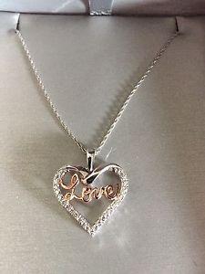 14 karat white gold rose gold diamond necklace