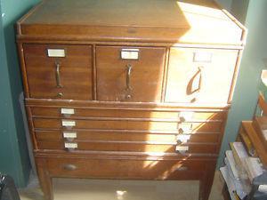 Antique Blueprint/flat & File Cabinet