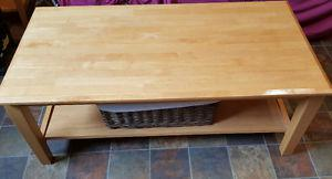 Coffee table with 2 end tables solid wood