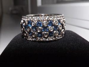 Ladies Sterling Silver Blue and White Stone Eternity Ring -