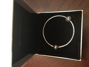 Pandora sterling silver bangle and Vintage M charm. Never