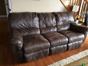 Real leather reclining couch and loveseat