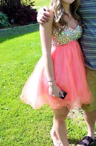 Short Coral Grad Dress