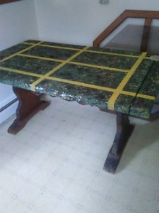 Trestle style table turned picnic table