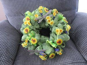 "Two tone green handmade mesh wreath; approx. 15"" across"