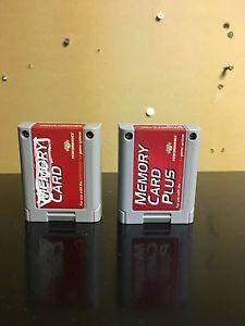 2 Nintendo 64 memory cards. One is a plus. N64