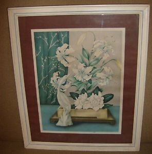 """Mid Century Art Deco Floral & Bird Print and Pair by """"Goes"""""""