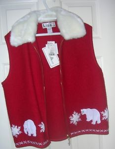 New Ladies XL 100% wool winter vest w/ white faux fur collar