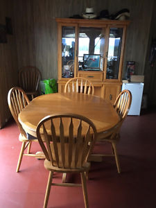 Oak kitchen table and hutch for sale