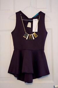 Sleeveless Purple Peplum Top with Necklace