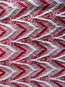 Woven Traditional Blanket/Throw, Red and White