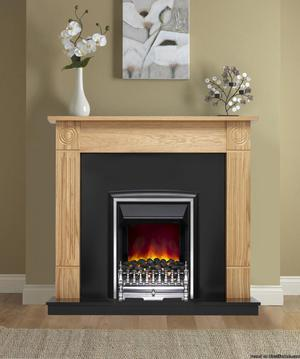 "BE MODERN ECO 42"" DARRAS NATURAL OAK, BLACK BACK & HEARTH"