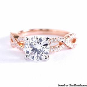 Rope Style 4 Prong Shoulder Diamond Engagment Ring Rope