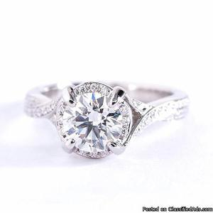 Twist Shank Side Stone Diamond Halo Engagement Ring