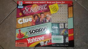 FAMILY GAME NIGHT-BOOK AND BOARD GAME SET-4 GAMES IN 1