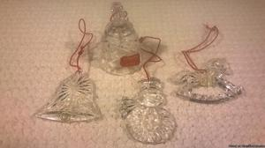 VINTAGE GORHAM LEAD CRYSTAL CHRISTMAS HOLIDAY ORNAMENTS-SET