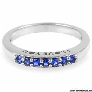 Sterling Silver Blue CZ Love Band Ring for Girls
