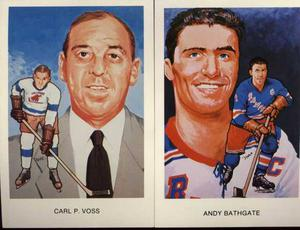 2 Post Cards Hockey Hall Of Fame Rangers Andy Bathgate