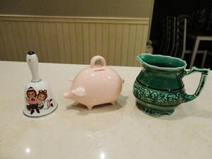 3 Vintage Ceramic -Pottery Items- Hand Bell, Piggy Bank,