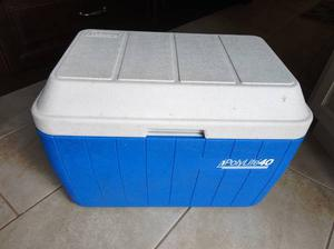 Coleman Polylite 40 Cooler - Blue and White Hinged Lid