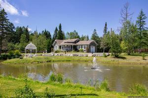 Luxueuse maison avec lac et fontaine en façade
