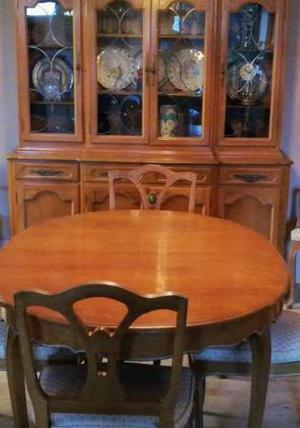 Vintage dining room buffet, hutch, table, solid wood (NO