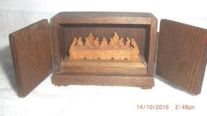 Vintage Miniature Hand Carved Wooden The Last Supper in