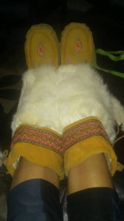 leather mukluks with white fur