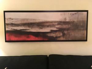 Cadre décoratif avec toile style abstrait rouge et noir