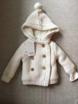 BNWT SEED infant girls knit hooded coat