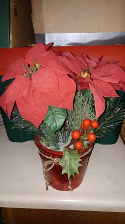 Beautiful Artificial Poinsettia Plant in Red Pot