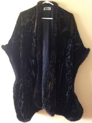 Beautiful velvet brocade fur lined shawl