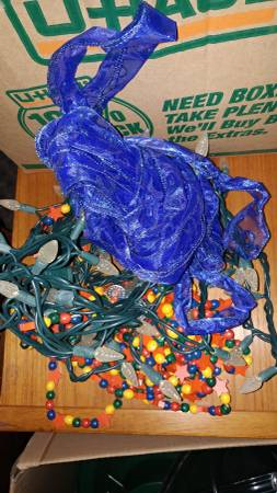 Group Lot of Christmas Tree Garland, Blue Ribbon and Lights