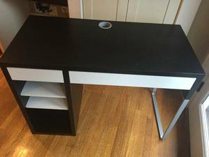 IKEA Espresso / White Minimalist Home Office Den Desk