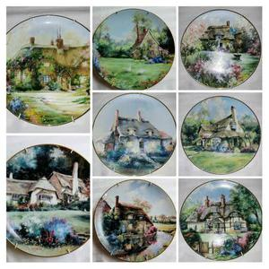 Set of 8 English Country Cottage Collector Plates by Marty