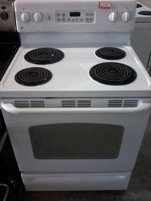 white GE stove