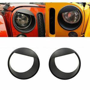 Head Light Headlight Cover Black For Jeep Wrangler JK