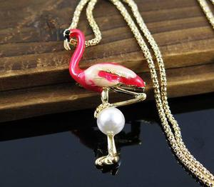 Pink Flamingo & Pearl Necklace Jewelry