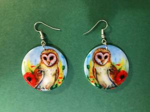 Printed Owl Design White Mother of Pearl Shell Earrings