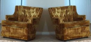 Pair of Vintage Gold Crushed Velvet Arm Chairs