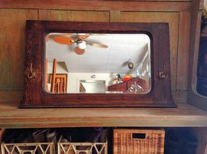 Antique Entrance Mirror Beautiful Large Beveled Tiger Oak