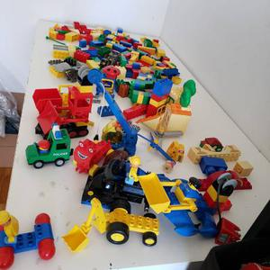 HUGE LOT OF LEGO DUPLO, WITH CONSTRUCTION TRUCKS AND MINI
