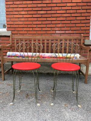 Two Vintage Metal Chairs Vanity Bistro